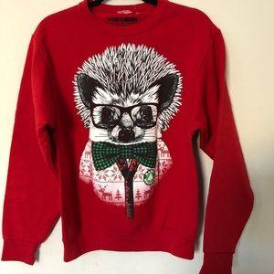 Deep Red sweatshirt / Christmas hedgehog sweater